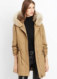 vince two in one fur lined parka in natural lyst
