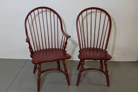 Windsor Dining Room Chairs Hand Crafted Red American Windsor Dining Room Chairs By