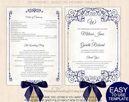 vintage wedding program template navy blue wedding fan program diy printable wedding fan program