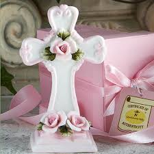 baptism figurines capodimonte pink cross figurine wedding favors