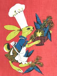 designer kitchen towels linen tea towel easter bunny rabbit chef kitchen wall hanging