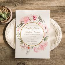 wedding invitations floral boho floral gold foil sted wedding invitations ewfi018