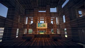 Wooden Interior by Minecraft Wooden House Render