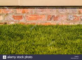 brick garden wall with sandstone coping stone on top and lawn at