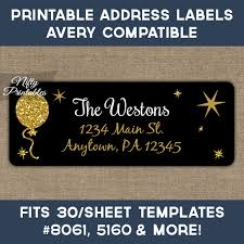 printable address labels black balloon avery compatible