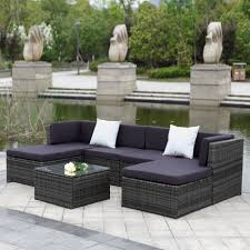 ikayaa us stock patio garden furniture sofa set ottoman corner