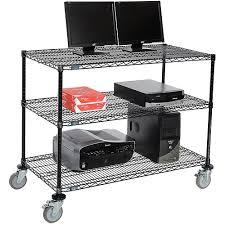 Wire Computer Desk Nexel 3 Shelf Mobile Wire Computer Lan Workstation 48