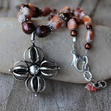 tibetan silver pendant necklace images Tibetan silver cross pendant necklace with mexican fire opal and jpg