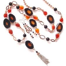 long orange necklace images Giselle long pendant necklace in orange and black earth and jpg