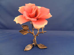 capodimonte roses capodimonte porcelain pink on metal stand artistic
