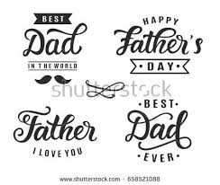 happy fathers day greeting hand lettering stock vector 658521088