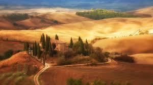 tuscany field painting beautiful view hd wallpaper