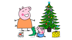 peppa pig decorate the christmas tree on new year drawing for
