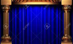 Blue Velvet Curtains Blue Velvet Curtains Behind The Gold Columns Stock Photo Picture