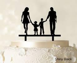 wedding cake topper with children family silhouette cake topper