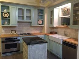 painting a kitchen island furniture green wooden kitchen cabinet with white sink and stove