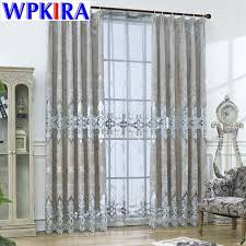 Luxury Grey Curtains European Velvet Curtains For Living Room Grey Luxury Embroidery