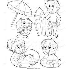 vector coloring page of black and white happy kids with summer