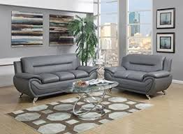 Gray Leather Sofa Gtu Furniture Contemporary Bonded Leather Sofa