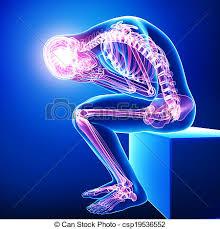pain body anatomy of full body pain on blue 3d rendered illustration stock