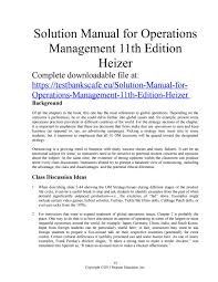 solution manual for operations management 11th edition heizer by
