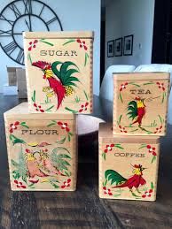 vintage wood rooster canister set set of 4 kitchen canisters