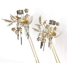 vintage japanese bira kanzashi hair pin ornament of s a pair