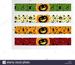 Halloween Banners by Four Halloween Banners With Green Red Bright And Orange