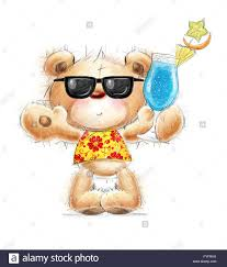 cocktail party cartoon cute teddy bear with the cocktail in the summer glasses and