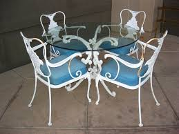 Wrought Iron Patio Furniture Set by Outdoor U0026 Garden 5 Piece Vintage White Wrought Iron Patio
