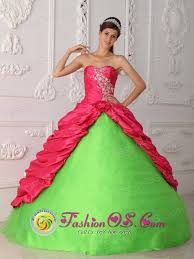 coral quince dress coral and green appliques and ruch 2013 villa dominico