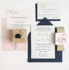 wedding invitations navy meg morrow paper event stylinggold navy and blush wedding