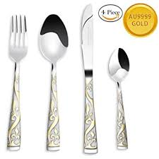 set of gold benry 24k gold plated silverware set 18 10 stainless
