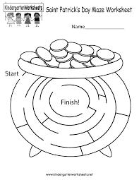 saint patrick u0027s day maze worksheet free kindergarten holiday