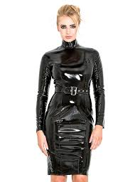 honour women u0027s pencil dress in black pvc longsleeved with