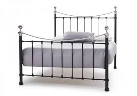 Steel King Bed Frame by Serene Ethan Black With Nickel 6ft Super King Size Metal Bed Frame