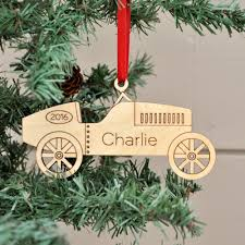 car ornament handcrafted wooden personalized christmas ornament