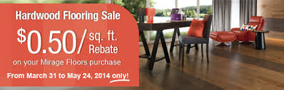mirage hardwood flooring sale rebate from march 31st may 24