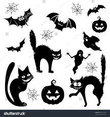 vector ghosts halloween cartoon cats bats ghosts pumpkins stock vector 331077797
