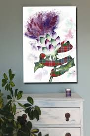 thistle and your clan tartan plaid ribbon art canvas of painting