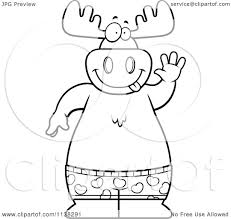 cartoon clipart of an outlined happy moose waving and wearing