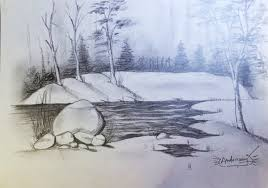 learn to draw landscape scenery pencil drawing tutorial how to