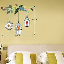 flowers and birds wall decal for nature lovers