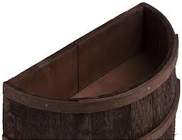 Half Barrel Planter by Stained Half Barrel Flat Back