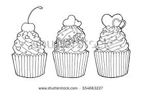 hand drawn sketch cupcakes cherry hearts stock vector 554663227