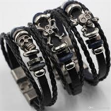 skull bracelet charm images 2017 fashion man woman pu leather bracelet mens ladies stylish jpg