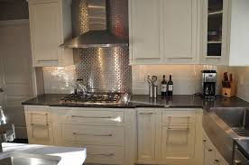 Metal Backsplash Tiles For Kitchens Kitchen Adorable White Kitchen With Solid Black Countertop And