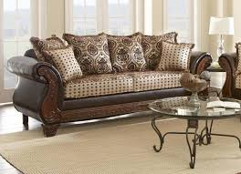 Leather And Fabric Living Room Sets Myco Furniture La Verne Classic Brown Leather Beige Fabric Living