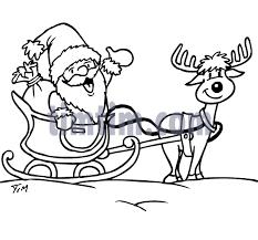 free drawing santa rudolph bw category christmas