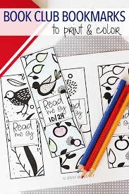 free printable book club bookmarks to color free printable